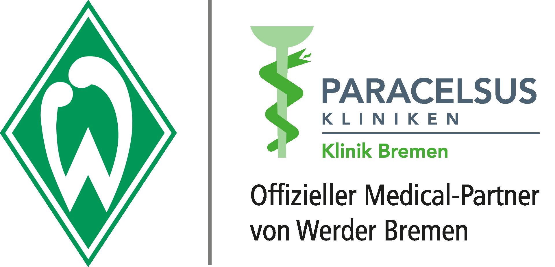 Logo Paracelsus-Kliniken und Werder Bremen